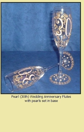 Personalised Pearl (30th) Wedding Anniversary Flutes